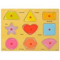 Деревянная игрушка  Рамка-вкладыш Геометрические фигуры Wooden Toys 013-2