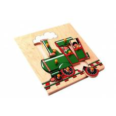Деревянная игрушка Вкладыши Поезд Паровоз ЛЭМ 1012