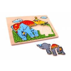 Деревянная игрушка Вкладыши Слоны ЛЭМ 1414
