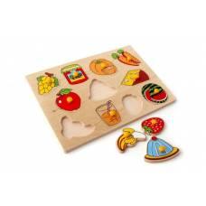Деревянная игрушка Вкладыши Фрукты, овощи Завтрак ЛЭМ 1415