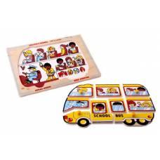 Деревянная игрушка Пазл Школьный автобус ЛЭМ 1426