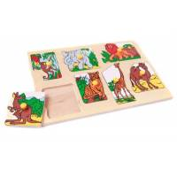 Деревянная игрушка Вкладыши Экзотические животные ЛЭМ 1434