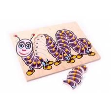Деревянная игрушка  Гусеница Рус. ЛЭМ 5015