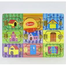 Деревянная игрушка Доска с замочками Бизиборд 35х25 см M 02999