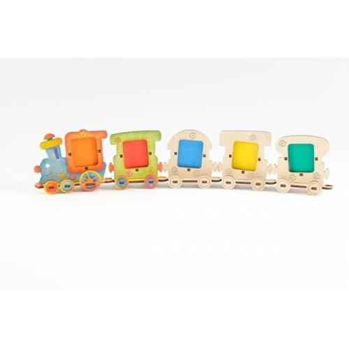 Деревянная игрушка Набор фоторамок Веселый паровозик WOODY В00174