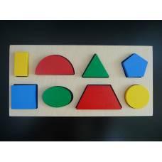 Деревянная игрушка Дидактическая рамка-вкладыш на 8 фигур KOMAROVTOYS А 327