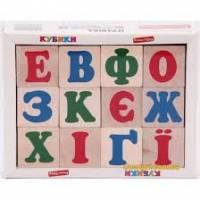 Деревянная игрушка Кубики Алфавит украинский Komarovtoys Т 601