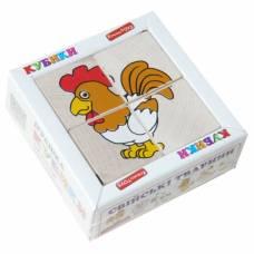 Деревянная игрушка Кубики Сложи рисунок: Домашние животные KOMAROVTOYS Т 609