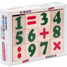 Деревянная игрушка Кубики Цифры и знаки Komarovtoys Т 604