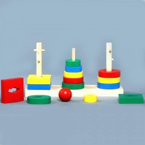 Деревянная игрушка Логическая пирамидка 3 в 1 KOMAROVTOYS А 338