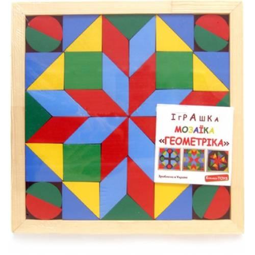 Деревянная игрушка Мозаика-геометрика 4 вида фигур Komarovtoys А 346