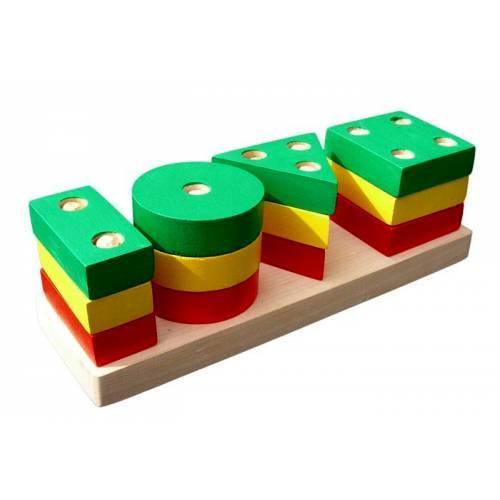 Деревянная игрушка Пирамидка Гео классик KOMAROVTOYS А 311