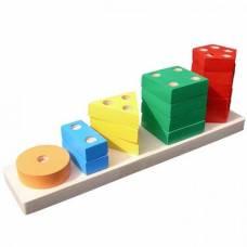Деревянная игрушка Пирамидка геометрическая Счет KOMAROVTOYS А 337