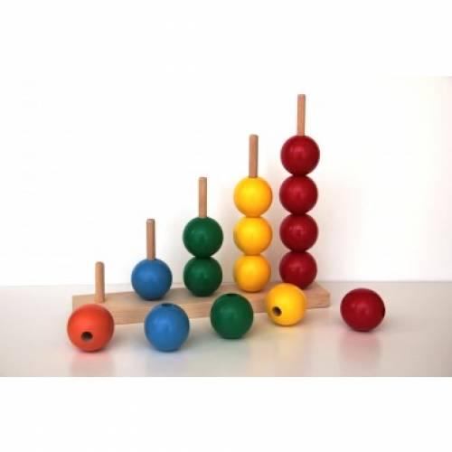 Деревянная игрушка Пирамидка-сортер Считалочка Макси KOMAROVTOYS А 366