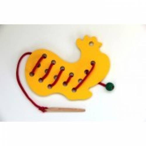 Деревянная игрушка Шнуровка Петушок KOMAROVTOYS К 139