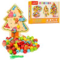 Деревянная игрушка Шнуровка Новогодняя ёлочка 100 деталей в коробке MD1041