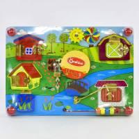 Деревянная игрушка Развивающая доска Бизиборд 35х25 см М 02996