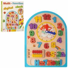Деревянная игрушка Часы-пазл, счеты Wooden Toys MD1050