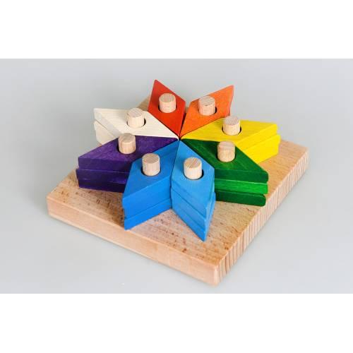 Деревянная игрушка Пирамидка-мозаика Цветик-семицветик ТАТО пр-012