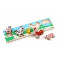 Деревянная игрушка Рамка-вкладыш Домашние Животные. Двор ТОМИК 382-1