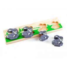 Деревянная игрушка Рамка-вкладыш Зайка больше - меньше ТОМИК 481-3