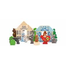 Деревянная игрушка Конструктор «Лесные сказки: Лиса и журавль, Заюшкина избушка, Волк и семеро козлят», ТОМИК 453-3