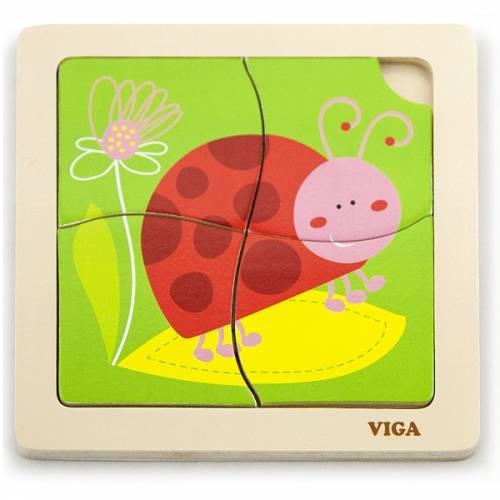 Деревянная игрушка  Пазл Viga Toys Божья коровка 50140