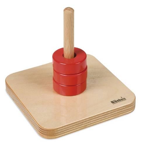 Деревянная игрушка Диски на вертикальном штырьке МОНТЕССОРИ 0-62-02