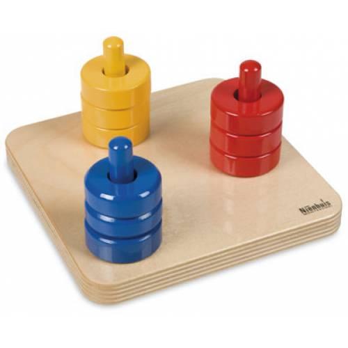 Деревянная игрушка Цветные диски на трех штырьках МОНТЕССОРИ 0-62-04