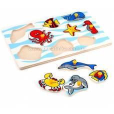Деревянная игрушка Вкладыши Морские животные ЛЭМ 1405