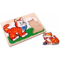 Деревянная игрушка Вкладыши Кот и котенок ЛЭМ 1407