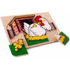 Деревянная игрушка Вкладыши Курочка ЛЭМ 1409