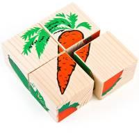 Деревянная игрушка Кубики Сложи рисунок: Овощи ТОМИК 3333-6