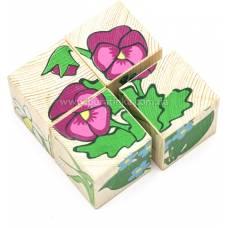 Деревянная игрушка Кубики Сложи рисунок: Цветы ТОМИК 3333-7