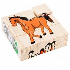 Деревянная игрушка Кубики Сложи рисунок: Домашние животные ТОМИК 4444-3