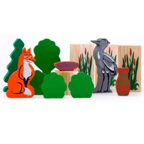 Деревянная игрушка Конструктор Сказки:  Лиса и Журавль ТОМИК 4534-10