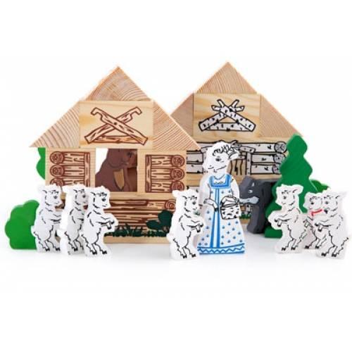 Деревянная игрушка Конструктор Сказки: Волк и семеро козлят ТОМИК 4534-5