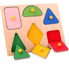 Деревянная игрушка Вкладыши средние Геометрические фигуры ЛЭМ 5003