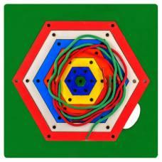 Деревянная игрушка Игра Радужная паутинка шестиугольник ОКСВА 5-1-8