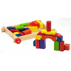 Деревянная игрушка Каталочка-тележка с конструктором BINO 80151