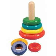 Деревянная игрушка Пирамида цветная BINO 81034