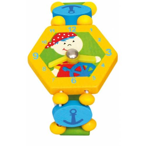 Деревянная игрушка Часы Пират желтые BINO 86038