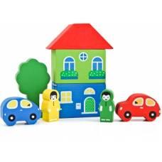 Деревянная игрушка Конструктор Цветной городок желтый ТОМИК 8688-1