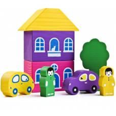 Деревянная игрушка Конструктор Цветной городок фиолетовый ТОМИК 8688-2