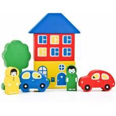 Деревянная игрушка Конструктор Цветной городок голубой ТОМИК 8688-3