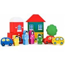Деревянная игрушка Конструктор Цветной городок зеленый ТОМИК 8688-4