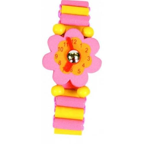 Деревянная игрушка Часы розовые BINO 87119