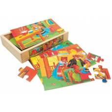 Деревянная игрушка Набор пазлов Сказка 4 в 1 BINO 88013