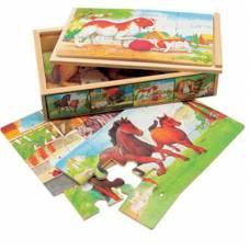 Деревянная игрушка Набор пазлов Животные 4 в 1 BINO 88015