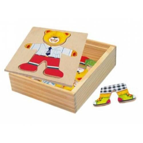 Деревянная игрушка Набор вкладышей Медвежонок-мальчик BINO 88047